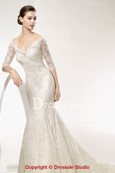Illusion V-neckline and 1/2 Sleeves Sheath Wedding Attire with Allover Lace
