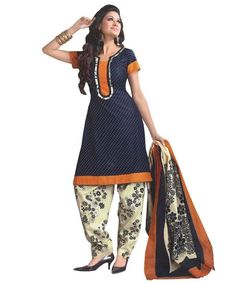 bollywood style dress @ 52% OFF Rs 515 Stitch Type: unstiched  Colour: primary color:Blue-orange  Fabric: Pattern: Solid Primary Color: blue Primary Color: orange Occasion: Casual Type: Printed Type: Dress materials  Size: free