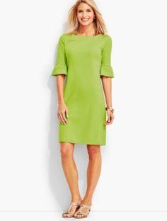 Flounce-Sleeve Shift Dress