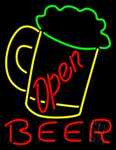Beer Mug Open Beer Neon Sign 31 Tall x 24 Wide x 3 Deep, is 100% Handcrafted with Real Glass Tube Neon Sign. !!! Made in USA !!!  Colors on the sign are Green, Yellow and Red. Beer Mug Open Beer Neon Sign is high impact, eye catching, real glass tube neon sign. This characteristic glow can attract customers like nothing else, virtually burning your identity into the minds of potential and future customers.