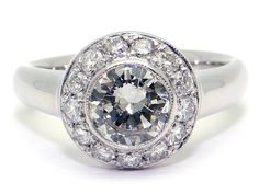 18k White Gold 1.35ct Round Brilliant Cut Diamond Halo Engagement Anniversary Ring Size 6 by AntiqueJewelryLine on Etsy