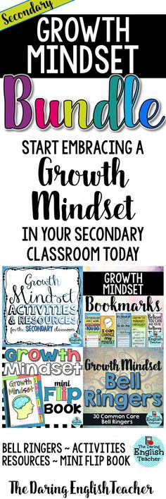 Growth Mindset bundle for secondary students. Teachers. Classroom.