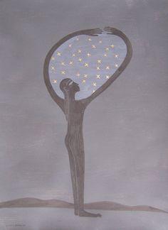 """Carme Sanglas """"Figura abraçant estrelles (Figure embracing stars)"""""""