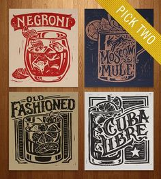 Classic Cocktail Block Prints – Set of 2 by Straw Castle on Scoutmob Shoppe