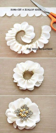 Simple t-shirt flower tutorial.Simple t-shirt flower tutorial. This will go beautifully on the DIY t-shirt headband!DIY Scalloped Edge Flowers - so cool! Ribbon Crafts, Flower Crafts, Fabric Crafts, Diy Crafts, Ribbon Diy, Ribbon Projects, Felt Flowers, Diy Flowers, Diy Flower Fabric