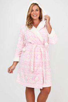 Pink satin robe with hood