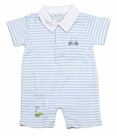 Kissy Kissy Infant Boys Blue Stripe Mini Golf Playsuit with Collar