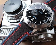 MiLTAT Zizz Collection Brown Fur & Calf Watch Strap Red Wax Hand Stitching demo on Jaeger LeCoultre Master Compressor Diving GMT 1000m – Limited Edition Titanium 187T170