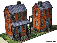 8-Bits House Paper Model - Brick Version - by Papermau - Download Now! == Here is the second version of the 8-Bits House: this is the 8-Bits House Paper Model - Brick Version.