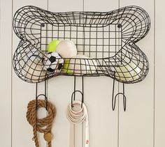 This wire bone storage from Pottery Barn is so cute! It's a perfect way to hold your dog toys, leashes, and harnesses!