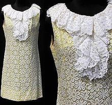 Vintage 1960s Mod Dress // Yellow & White Lace //   Dolly Girl // Mad Men