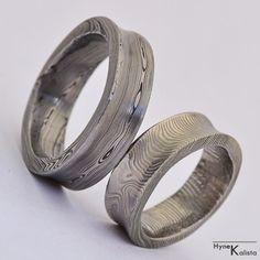 Custom Wedding Ring / Hand forged concaved damascus wedding ring - przepiękne obrączki ślubne ze stali damasceńskiej