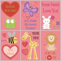 Animal Themed Printable Valentines  Cards Holidays and Craft