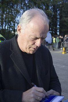 David Gilmour signing an autograph