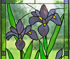 Purple Irise Stained Glass Panel on Etsy, $396.00