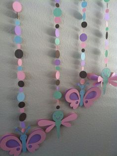 baby girl baby shower decorations butterfly ad dragonfly on paper confettie garland $20