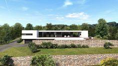 maison à l'architecture contemporaine en béton, bois et pierre en Provence