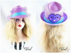 Color Block Face Veil Straw Fedora Hat Lavender