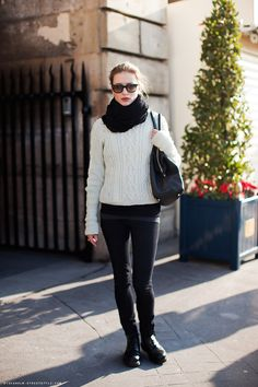 Stockholm street style... love the infinity and the cable knit