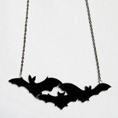 Bat cluster necklace por CherrylocoJewellery en Etsy
