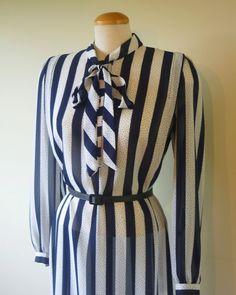 70s secretary dress - vintage dress - striped dress - blue and white -  vintage dress  - light - sheer. $34.80, via Etsy.