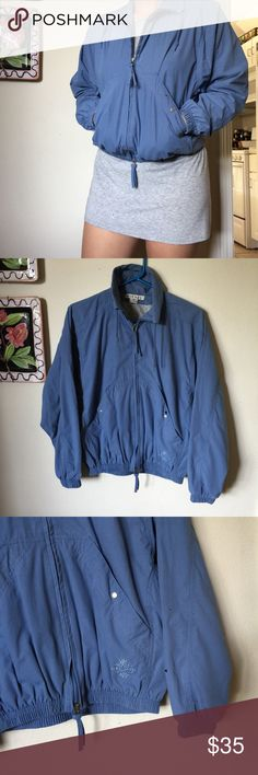 Vintage Blue Nike Golf Jacket Lined with grey teeshirt soft material windbreaker jacket. Vintage Nike Golf jacket perfect for chilly summer nights with a perfect transition to fall! Oversized but listed as a size small. (Small in the stretchy waistband). ALL OFFERS WELCOMED.☑️ From a smoke free and pet free home☑️ your order ships within 24 hours! Make sure to check out my other items for an awesome bundle deal! If additional photos needed, please specify of what and where. Measurements also…