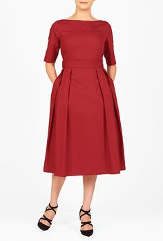 I <3 this Cotton poplin bow belted dress from eShakti