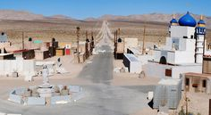 """Center of """"Medina Wasl,"""" a mock Iraqi village used to train troops in urban warfare at Fort Irwin's National Training Center in California."""