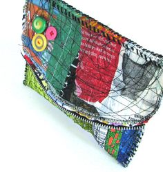 Green Upcycled Clutch Bag Red Blue Green Black by itzaChicThing