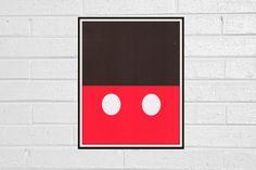 Mickey Mouse Disney - Minimalist Icon Pop Art Print 8x10