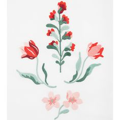 Red Wallflower Embroidery Pattern