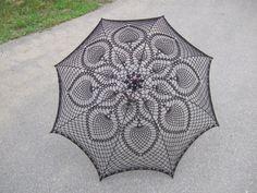 Black Lace Crochet UMBRELLA PARASOL