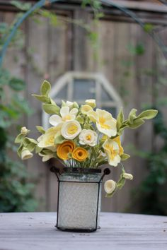 Yellow Felt Flower Arrangement. Beautiful fall centerpiece