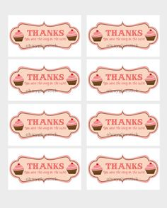 Cupcake Thank You  Labels