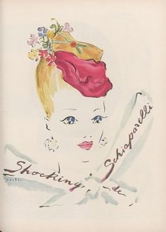 Advertisement for Shocking De Schiaparelli, appeared in Vogue's April 1, 1943 issue