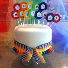 Rainbow birthday cake for Annalise