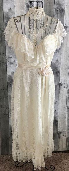 VTG 1960s Lace Sequin Wedding Bridal Gown Dress Ivory Ruffled Edwardian Small  | eBay