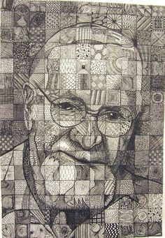 Papa by, Lou Traylor example of grid drawing using pattern for value. Its a great example, but I don't think this technique renders his beard well Chuck Close Art, Chuck Close Paintings, Art Sketches, Art Drawings, 8th Grade Art, Texture Drawing, Ecole Art, Drawing Projects, School Art Projects