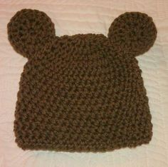 brown bear hat  ready to ship size 0-6 months by isabellaandviolet, $15.00