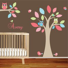 Pattern Leaf Nursery wall decal sticker vinyl tree and branch decals. $150.00, via Etsy.