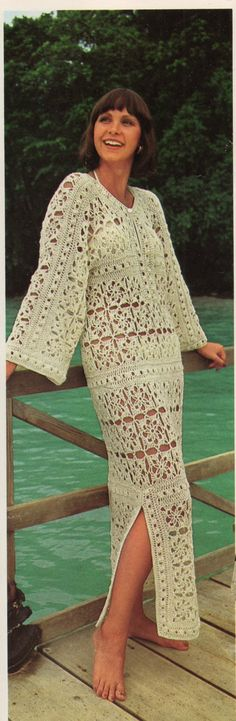Crochet DRESS Pattern Vintage Crocheted Caftan Dress Pattern Crochet Maxi Dress Bohemian Clothing Bikini Cover Up Dress Caftan Dress, Kaftan, Kimono, Yarn Weight Chart, Look Vintage, Vintage 70s, Vintage Fashion, Vintage Dress Patterns, Clothing Patterns