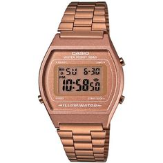 Casio Men's Digital Vintage Rose Gold-Tone Stainless Steel Bracelet... ($65) ❤ liked on Polyvore featuring men's fashion, men's jewelry, men's watches, rose gold, vintage mens watches, mens watch bracelet, stainless steel mens watches, mens digital watches and casio mens watches