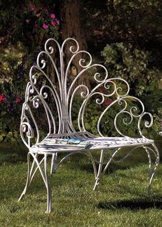 French White Scrolled Ironwork Peacock Garden Seat By Victorian Trading  Company