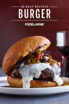Food & Wine editors select the 20 best burger recipes from famous restaurants, chefs, and their own test kitchen! Wine Recipes, Beef Recipes, Great Recipes, Cooking Recipes, Favorite Recipes, Burger And Fries, Good Burger, Amazing Burger, Gourmet Burgers