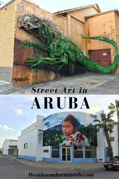 We love art experiences on holiday and Read about the street art of Aruba - the unexpected Caribbean Barbados, Aruba Caribbean, Caribbean Art, Oranjestad Aruba, Cuba, Street Art, Caribbean Culture, Wanderlust, Pow Wow