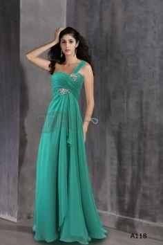 Green silk princess gown dress green dress one shoulder dress