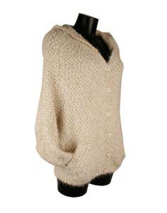 Cardigan blanco roto holgado con capucha de borlas.