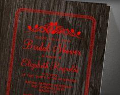 Black Red Vintage Barn Wood Bridal Shower Invitation