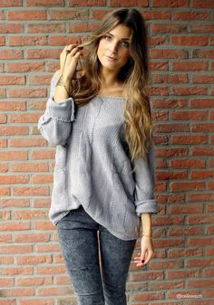 Shoulder Cut Out Knitted Sweater