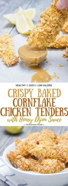 Crispy Baked Cornflake Chicken Tenders are perfect low-calorie, quick and HEALTHY family meal. Served with homemade Honey Dijon Sauce, these tenders are delicious party, game day finger food too. It's addictive and so good! #healthyrecipes #dinner #dinnerrecipes #chickendinner #chickenrecipes #partyfood #gameday #appetizer #fingerfood #easydinner #healthylifestyle #weightlossrecipes   NATALIESHEALTH.com